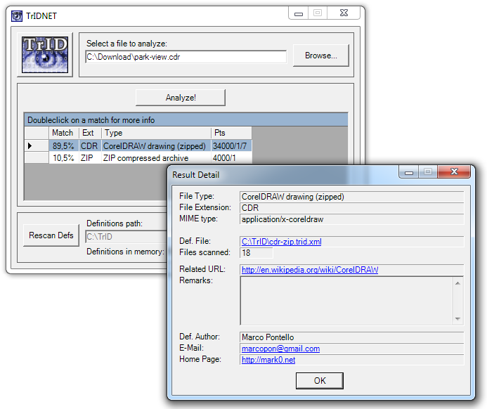 Sample screenshot: TrIDNet recognizing an LA Lossless Audio compressed file.